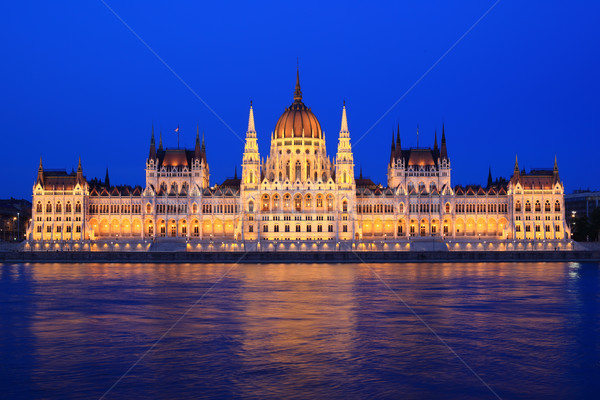 Parlamento Budapeste Hungria noite água casa Foto stock © joruba