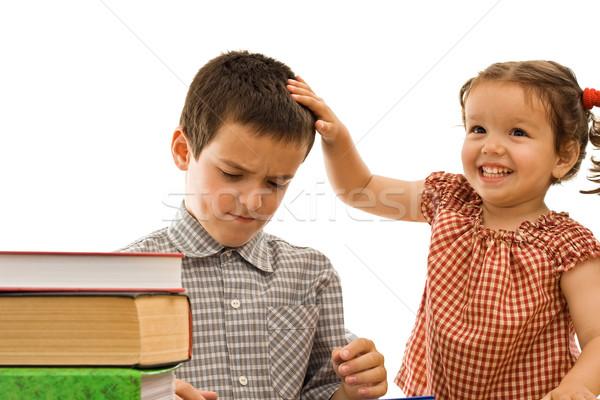 Little girl stroking the boy's head Stock photo © joseph73