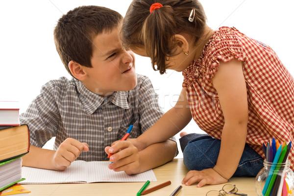два детей рисунок мальчика сердиться Сток-фото © joseph73