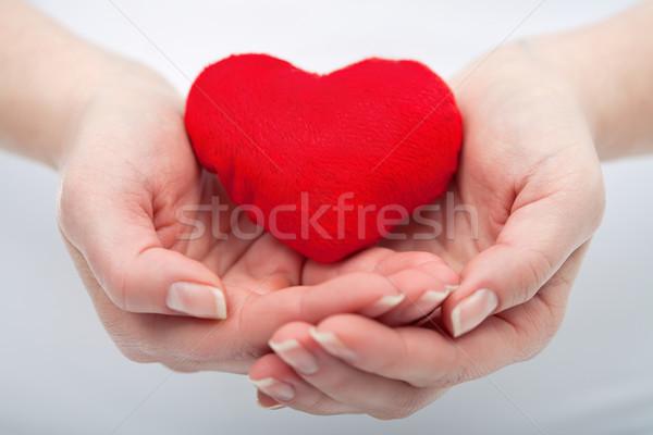 Kobieta czerwony serca strony miłości Zdjęcia stock © joseph73