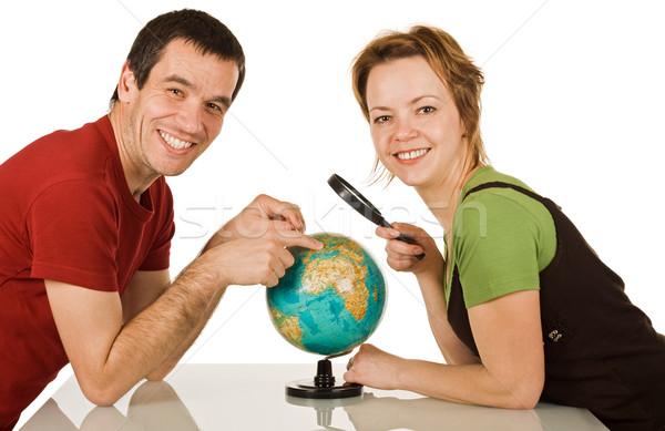 счастливым пару мира глядя женщину Сток-фото © joseph73