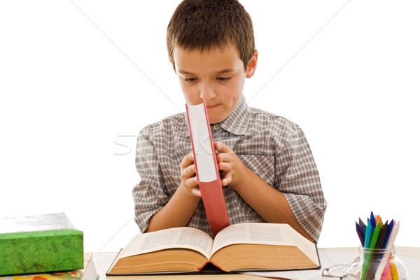 Zdjęcia stock: Szczęśliwy · uczeń · książek · otwarte · czerwony · kolor