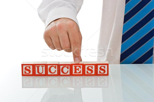 бизнесмен блоки успех знак бизнеса Сток-фото © joseph73