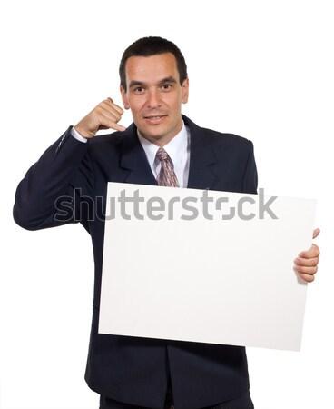 Człowiek biznesu biały tektury działalności uśmiech Zdjęcia stock © joseph73