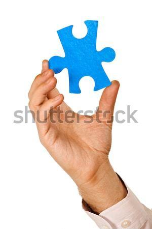Biznesmen kawałek puzzle niebieski działalności Zdjęcia stock © joseph73