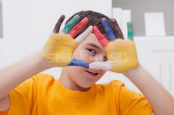 Chłopca kolorowy ręce mały funny twarzy Zdjęcia stock © joseph73