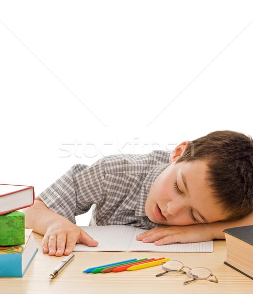 Zdjęcia stock: Uczeń · snem · zmęczony · książek · papieru · oczy