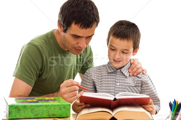 школьник отец обучения счастливым вместе лице Сток-фото © joseph73