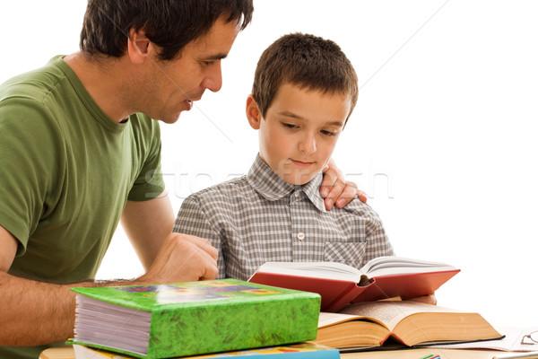 Zdjęcia stock: Uczeń · ojciec · nauki · szczęśliwy · wraz · twarz