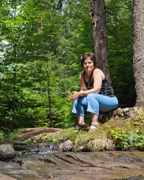 красивая женщина лес женщину волос деревья Сток-фото © joseph73