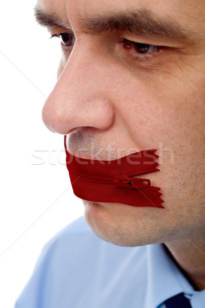 Biznesmen duży tajne czerwony usta twarz Zdjęcia stock © joseph73