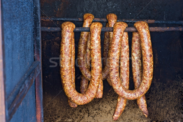 Sausages in smoke house Stock photo © joseph73