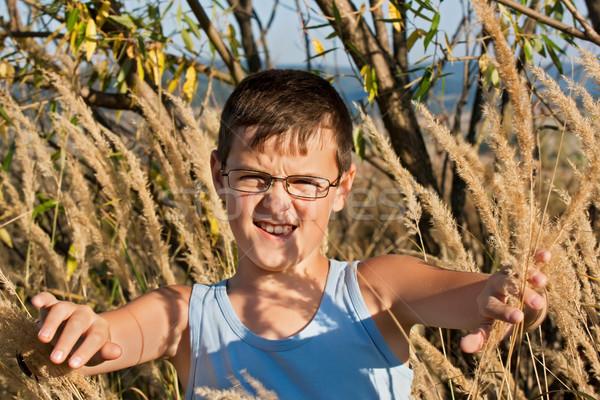 Chłopca stałego charakter okulary niebieski Zdjęcia stock © joseph73