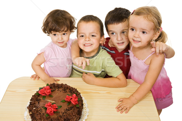 детей торт счастливым девушки шоколадом Сток-фото © joseph73