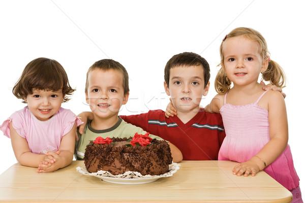 детей торт счастливым девушки улыбка Сток-фото © joseph73