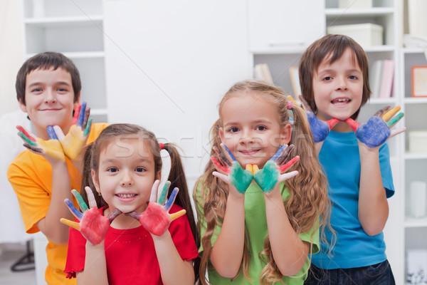 Dzieci kolorowy ręce szczęśliwy dziewczyna strony Zdjęcia stock © joseph73