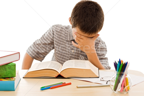 школьник лице школьник чтение старые книги бумаги Сток-фото © joseph73