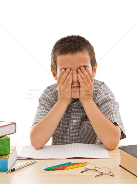 Zmęczony uczeń oczy papieru książek włosy Zdjęcia stock © joseph73