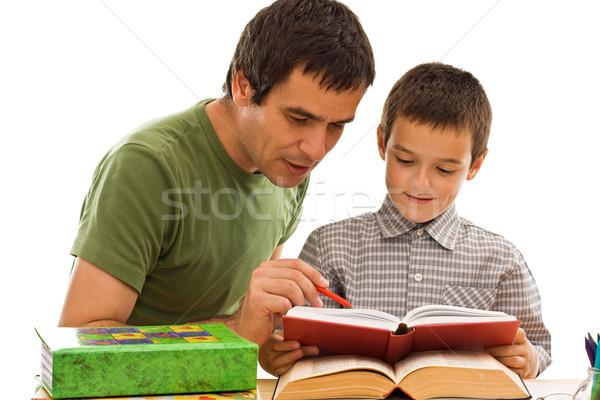 Uczeń ojciec nauki szczęśliwy wraz twarz Zdjęcia stock © joseph73