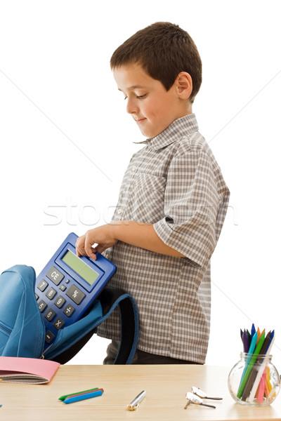 школьник калькулятор синий цвета стороны улыбка Сток-фото © joseph73
