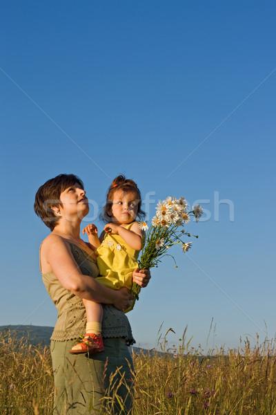 лет ходьбы матери девушки ходьбе луговой Сток-фото © joseph73