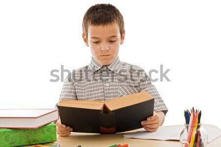 Zdjęcia stock: Uczeń · czytania · książki · starej · książki · papieru · oczy