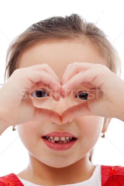 Dziewczyna serca podpisania dziewczynka kształt serca Zdjęcia stock © joseph73