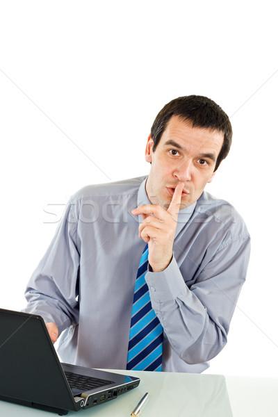 бизнесмен шоу молчание знак ноутбука Сток-фото © joseph73