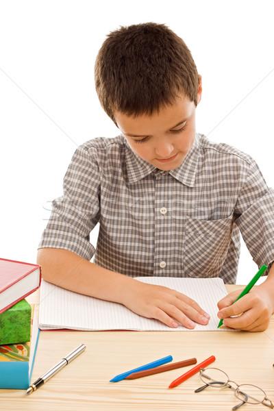 счастливым школьник Живопись зеленый карандашом Сток-фото © joseph73