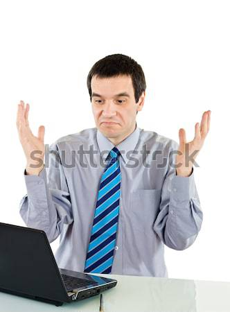 Zakenman naar laptop hand man Stockfoto © joseph73