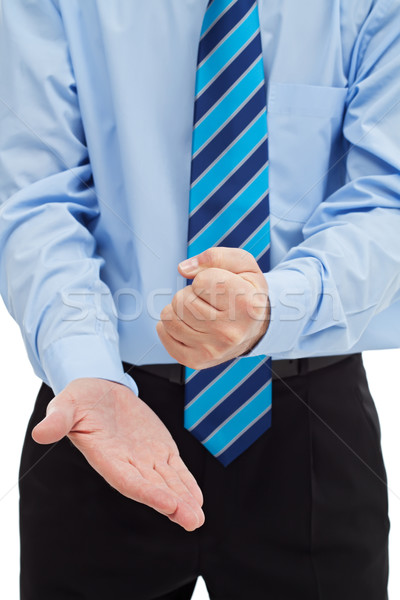 бизнесмен Palm мощный рук человека синий Сток-фото © joseph73