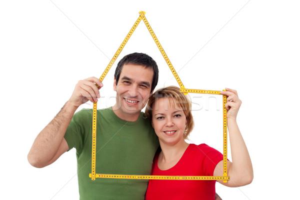 счастливым пару домой планирования древесины строительство Сток-фото © joseph73