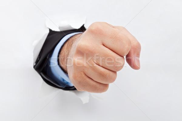 бизнесмен кулаком бумаги бизнеса текстуры человека Сток-фото © joseph73