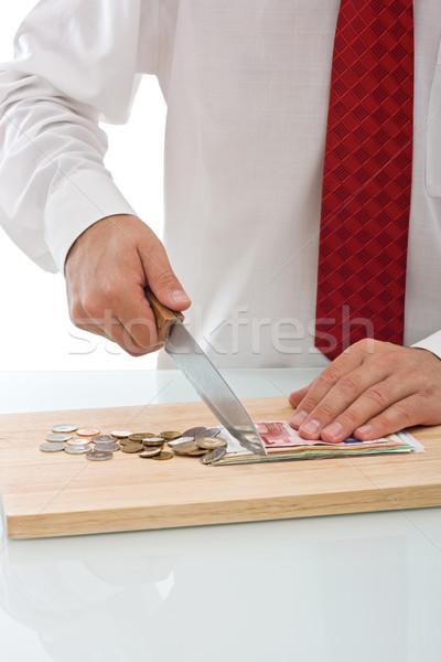 бизнесмен валюта ножом бизнеса Сток-фото © joseph73