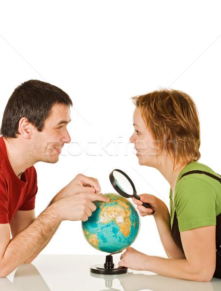 пару глядя другой счастливым женщину улыбка Сток-фото © joseph73