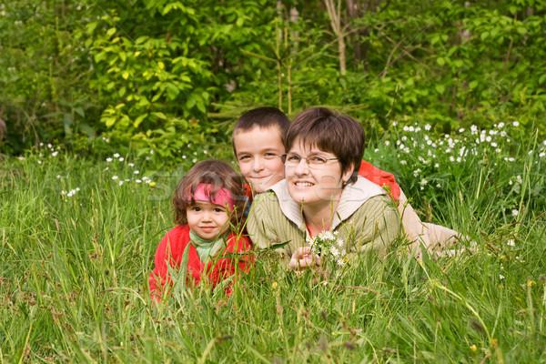 Trawy kobieta dzieci wiosną kwiaty Zdjęcia stock © joseph73