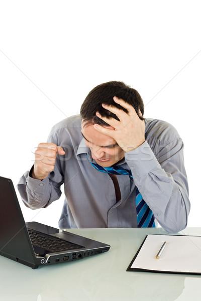 ストックフォト: 怒っ · ビジネスマン · フラストレーション · 作業 · ノートパソコン · ビジネス