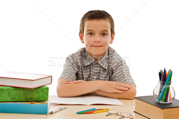 Happy schoolboy staying calm Stock photo © joseph73