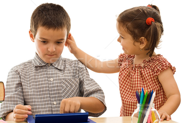 девочку мальчика уха школьник стороны Сток-фото © joseph73