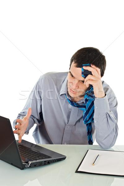 Mérges üzletember hegyorom nyakkendő üzlet papír Stock fotó © joseph73