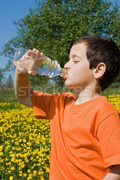 мальчика питьевая вода весны улыбка лице волос Сток-фото © joseph73