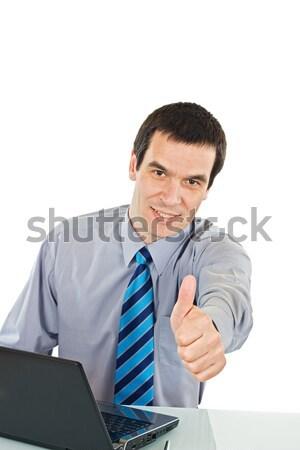 Biznesmen pokaż kciuk w górę podpisania laptop Zdjęcia stock © joseph73