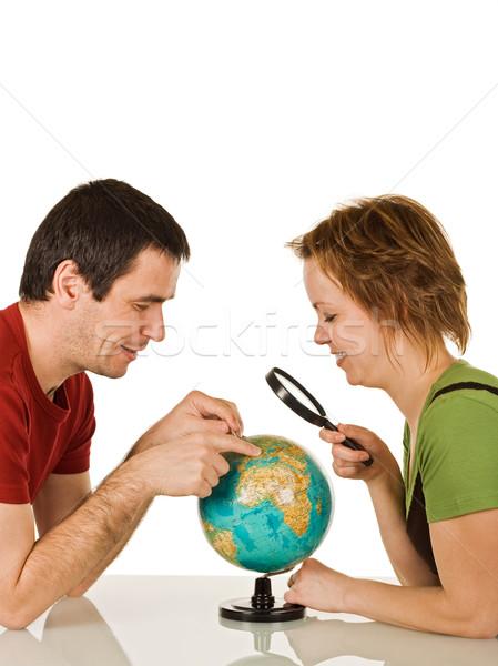 пару глядя мира счастливым увеличительное стекло женщину Сток-фото © joseph73