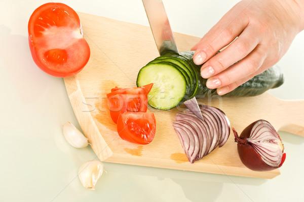 Warzyw deska do krojenia kobieta cięcie tekstury żywności Zdjęcia stock © joseph73