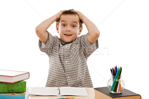 школьник волос рук книга студент карандашом Сток-фото © joseph73