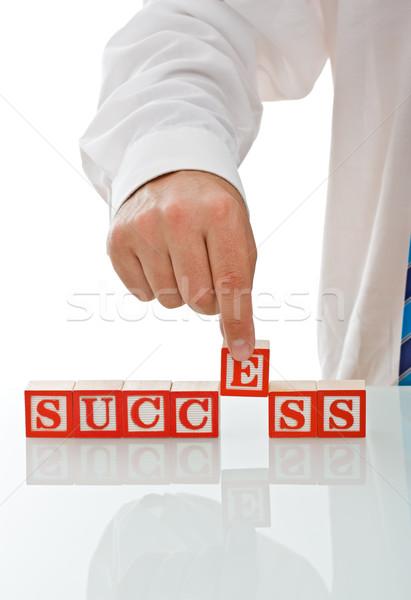 Zdjęcia stock: Biznesmen · bloków · sukces · podpisania · działalności