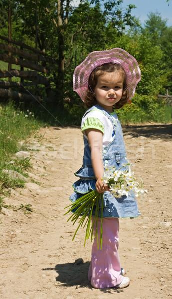 Little girl on the country lane Stock photo © joseph73