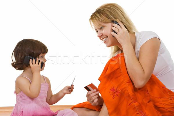 Dwa dziewczyna młoda kobieta mówić telefonu Zdjęcia stock © joseph73