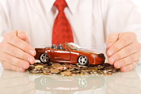 бизнесмен красный игрушку автомобилей монеты Сток-фото © joseph73