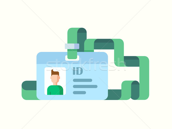 Badge ID with Twisted Ribbon flat style Stock photo © jossdiim